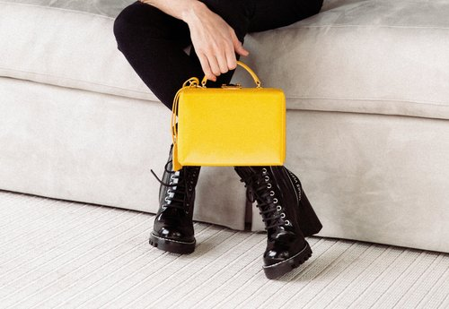Yellow Mark Jacobs designer bag.