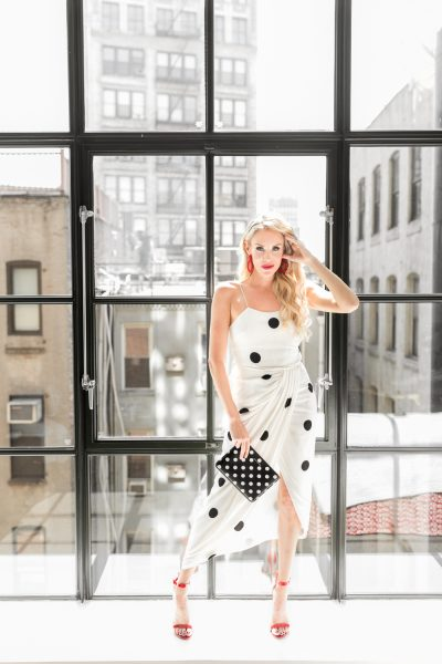 Blonde woman-window- Derek Lam Polka Dot Dress